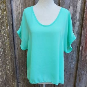 Absolute Angel Mint Green Hi Low Blouse Si…